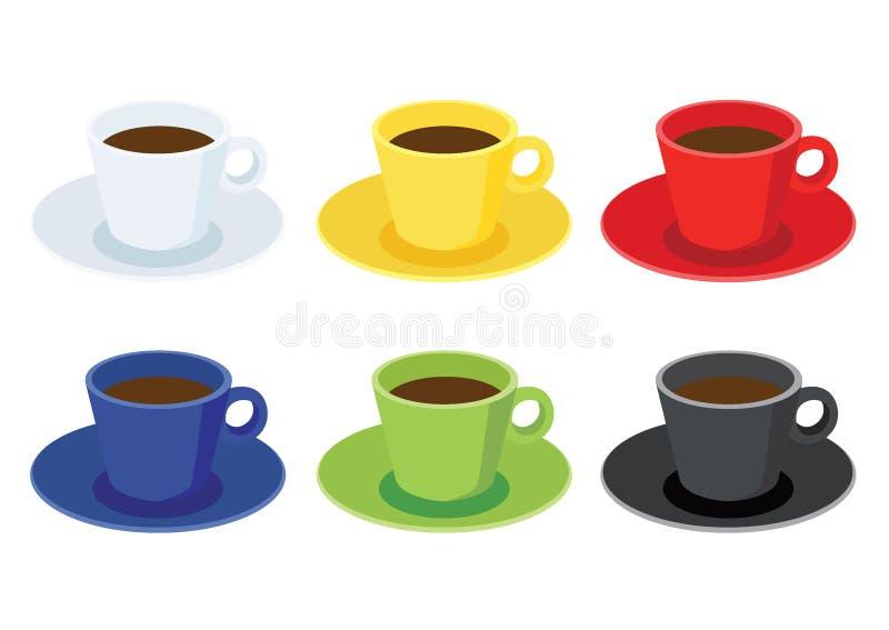 Tasse de café sur la soucoupe sur le fond blanc illustration de vecteur