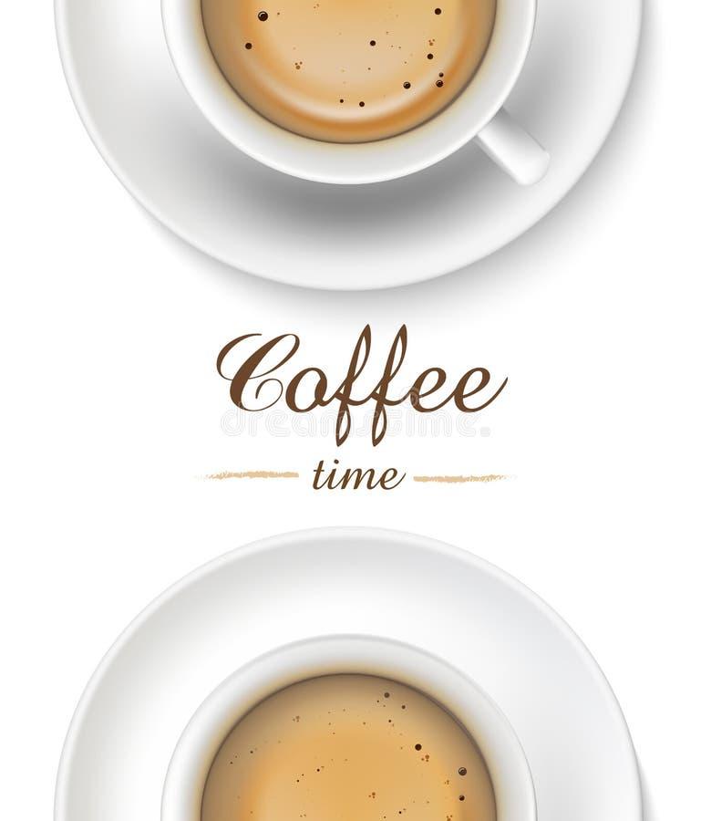 Tasse de café sur le fond blanc, vue supérieure illustration libre de droits