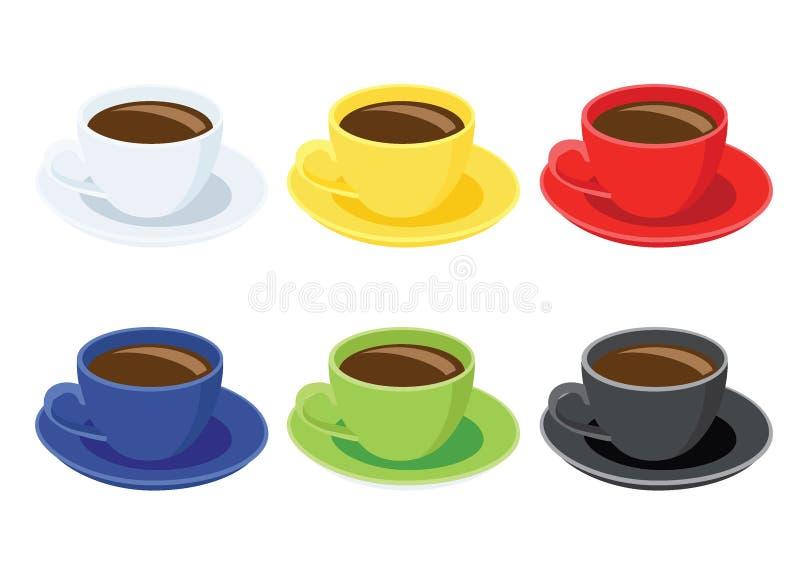 Tasse de café sur le noir vert bleu rouge jaune blanc de couleur multi de soucoupe et de beaucoup de tasses de café illustration de vecteur