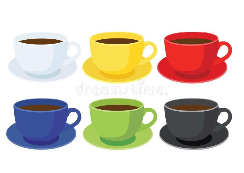 Tasse de café sur le noir vert bleu rouge jaune blanc de couleur multi de soucoupe et de beaucoup de tasses de café illustration libre de droits