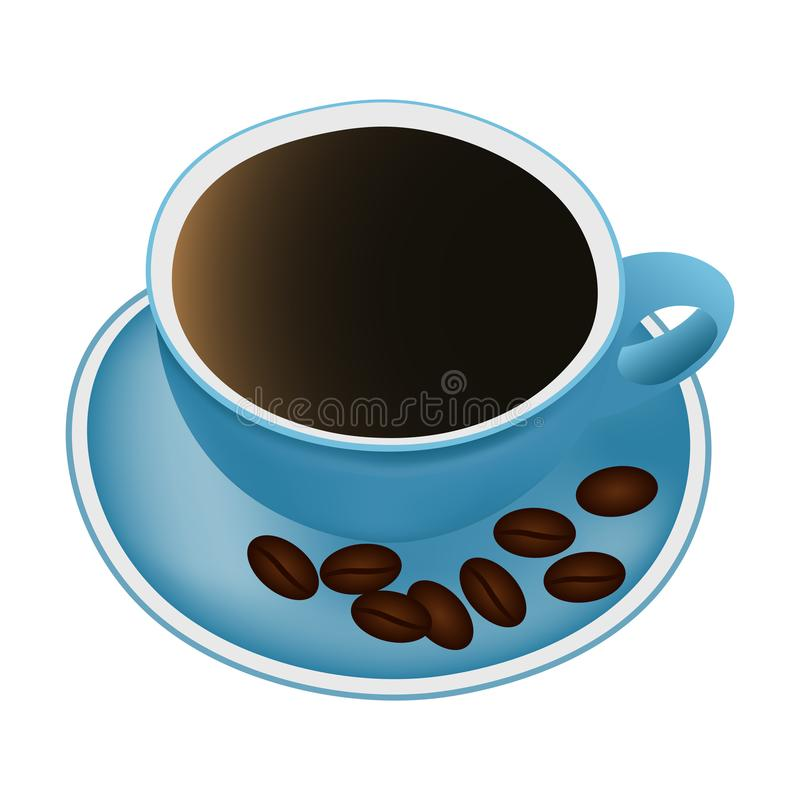 Tasse de caf? et de grains de caf? illustration de vecteur