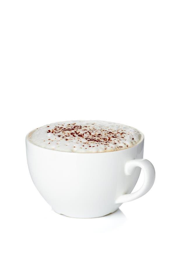 Tasse de cappuccino de café sur le blanc images libres de droits