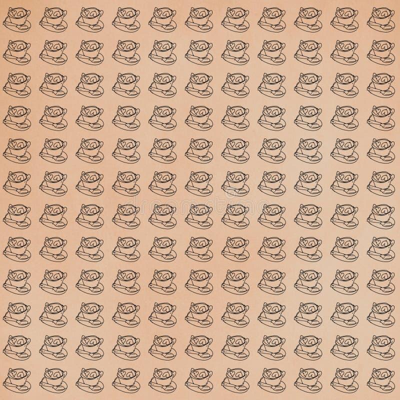 Tasse de carte cadeaux de café ou de tissu, modèle, répétant le modèle, illustration stock