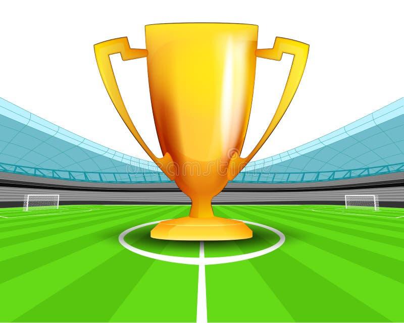 Tasse de champion dans la zone centrale du vecteur de stade de football illustration de vecteur