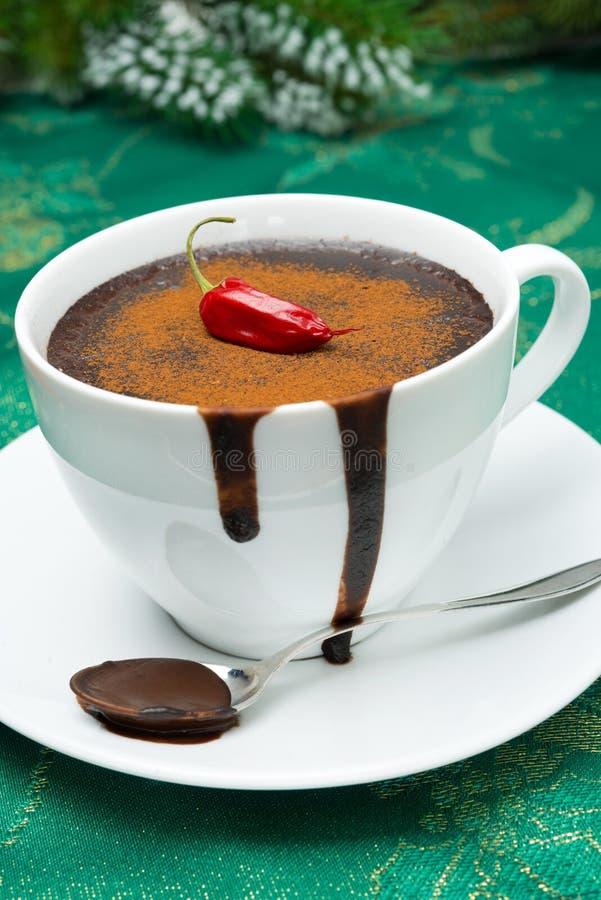 Tasse de chocolat chaud avec les piments, cannelle pour Noël photographie stock