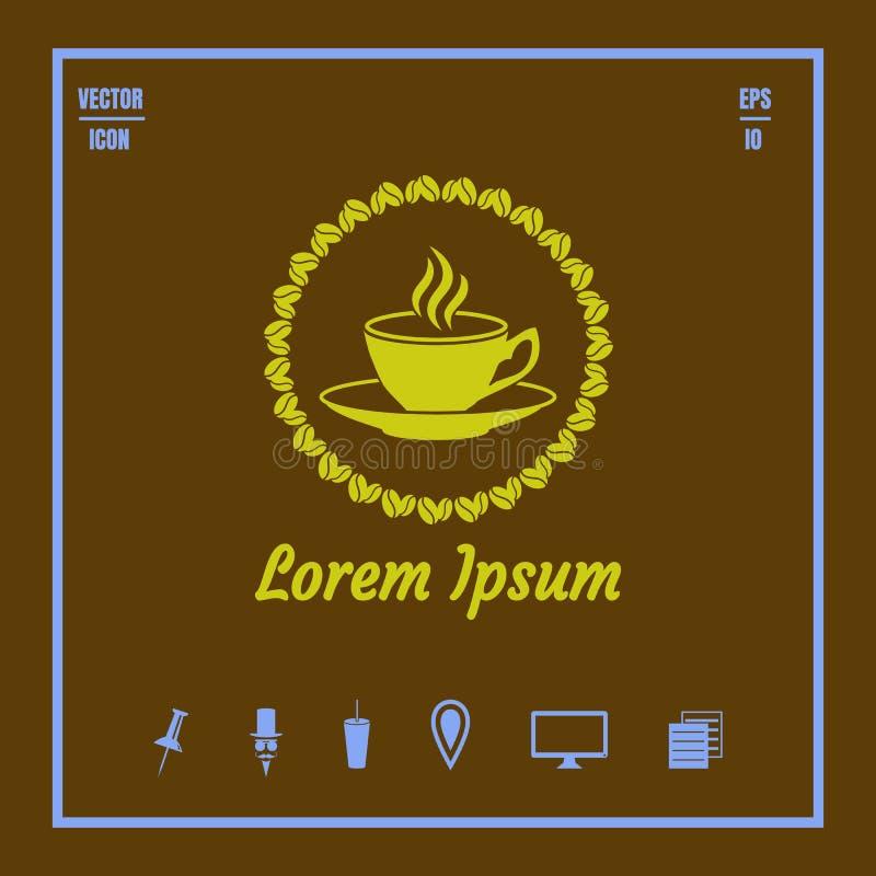 Tasse de coffe avec le saurce, cadre des grains de café et vect de saveur illustration de vecteur