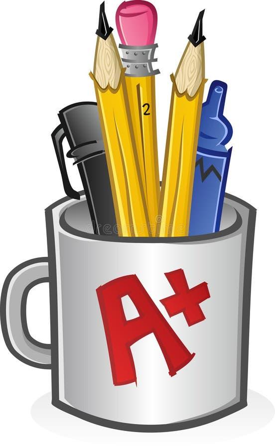 Tasse de crayons lecteurs et de crayons illustration de vecteur