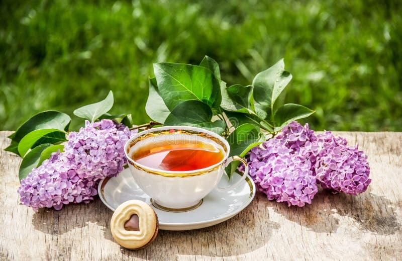 Tasse de fleurs de thé et de lilas Petit déjeuner dans le jardin photographie stock