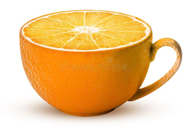 Tasse de fruit orange frais photographie stock