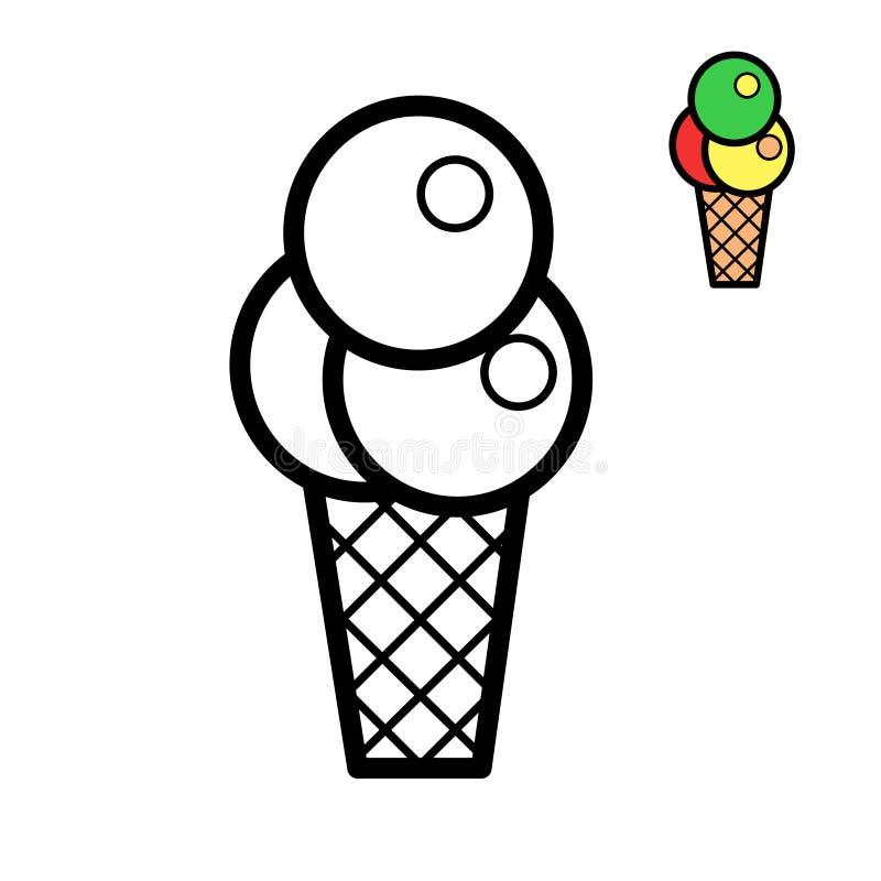 Tasse de gaufre avec trois boules de noir et blanc icône crème glacée de schéma Page de livre de coloriage pour des enfants Vecte illustration stock