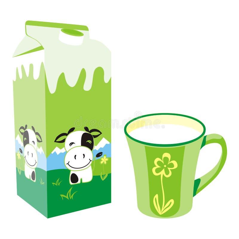 tasse de lait d'isolement par carton de cadre illustration libre de droits