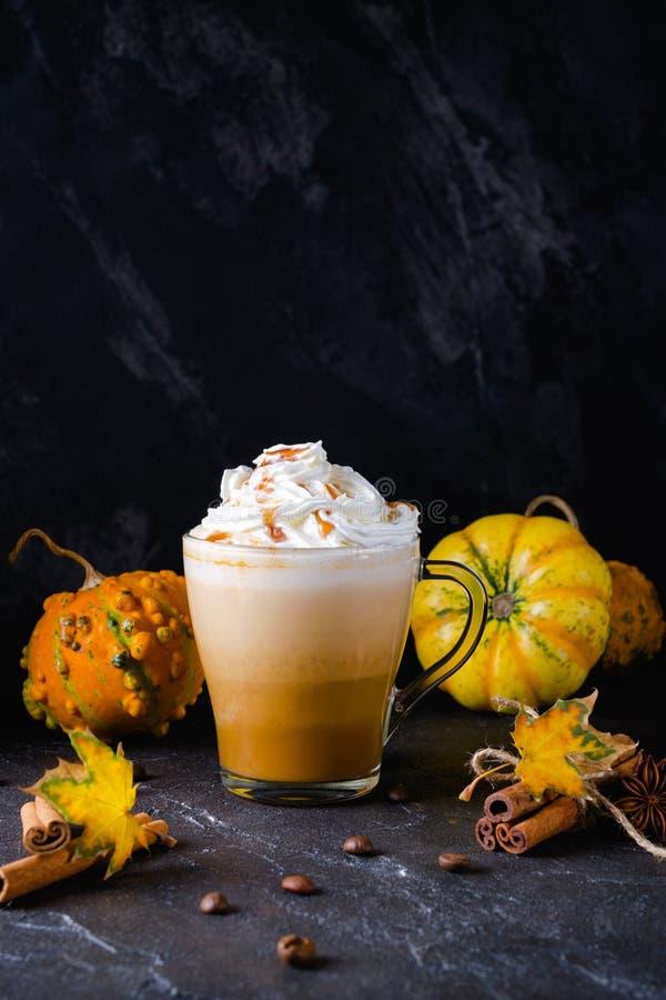 Tasse de latte d'épice de potiron avec la crème fouettée sur les épices supérieures et saisonnières d'automne, et décor de chute  image libre de droits