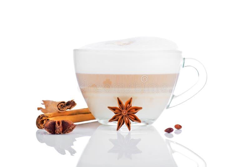 Tasse de latte de café avec les bâtons de cannelle et l'anis d'étoile photos libres de droits