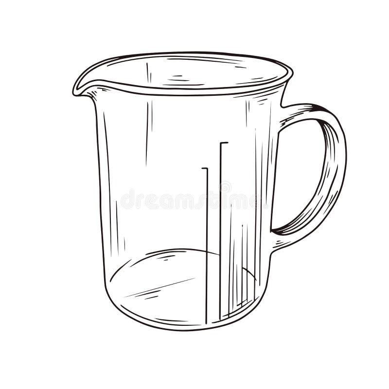 Tasse de mesure de cuisine de croquis Vecteur illustration stock