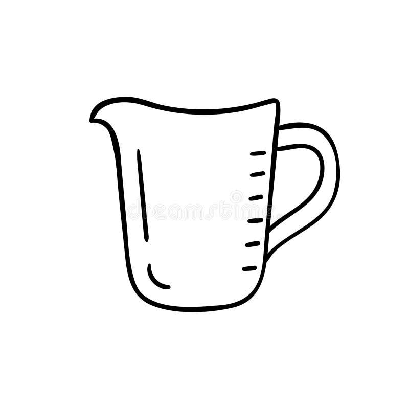 Tasse de mesure - icône de vecteur Cruche de cuisine Icône vide de tasse de mesure d'isolement sur le blanc illustration libre de droits