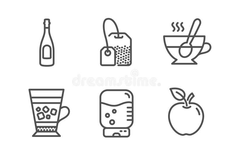 Tasse de milk-shake, de th? et ensemble d'ic?nes de sachet ? th? Refroidisseur de Champagne, d'eau et signes d'Apple Boisson froi illustration stock