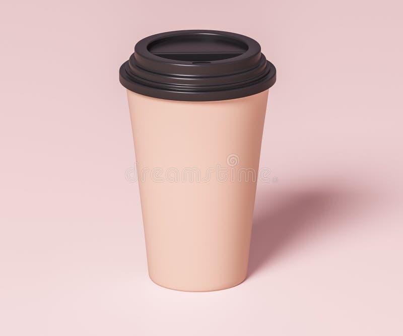 Tasse de papier de Brown pour des boissons avec le couvercle noir - illustration 3D illustration libre de droits