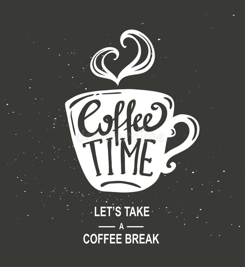 Tasse de papier de café stylisé de vintage de hippie de temps de café avec le lettrage sur le fond de tableau illustration libre de droits