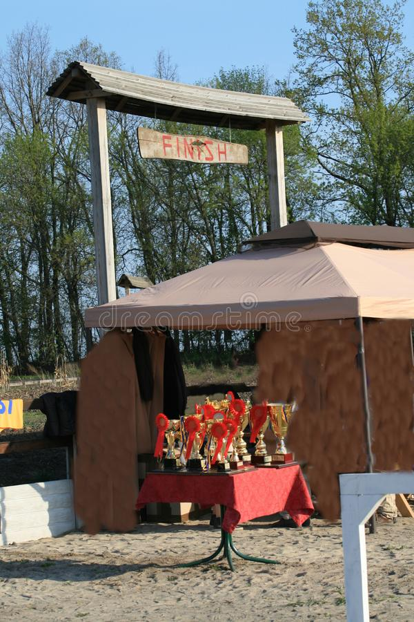 Tasse de résistance de chevaux sur la table avec les rosettes rouges image libre de droits