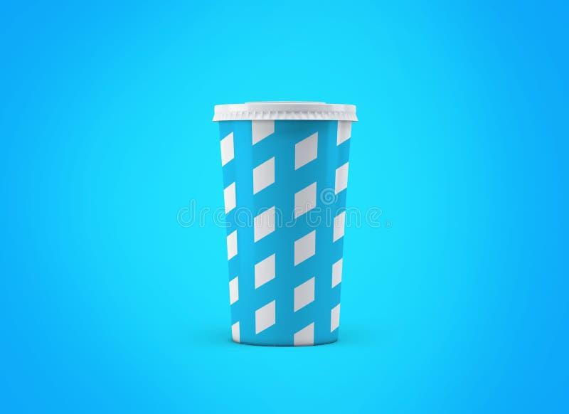 Tasse de soude Tasse de papier sur le fond Grande tasse de carton de boissons à aller maquette illustration de vecteur