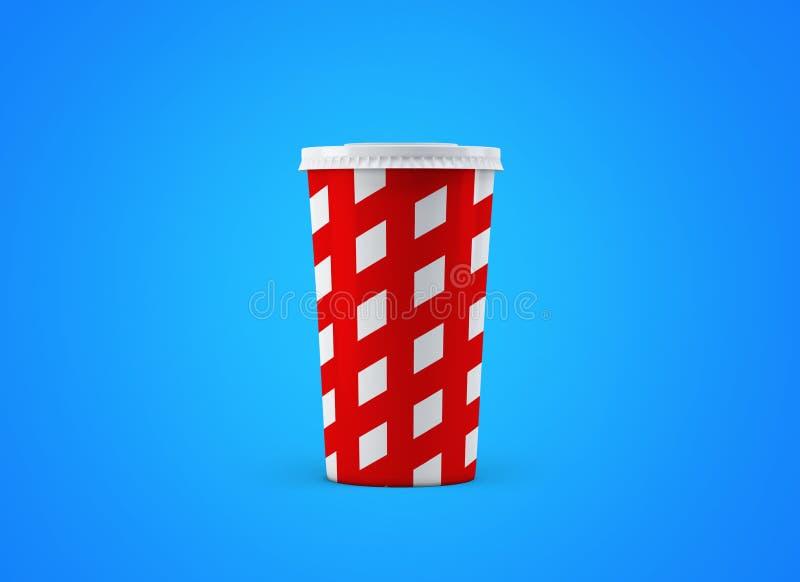 Tasse de soude Tasse de papier sur le fond Grande tasse de carton de boissons à aller maquette illustration stock
