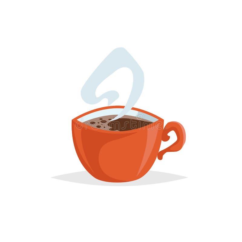 Tasse de style de bande dessinée avec du café chaud Conception décorative à la mode Grand pour le menu de café Tasse rouge avec l illustration stock
