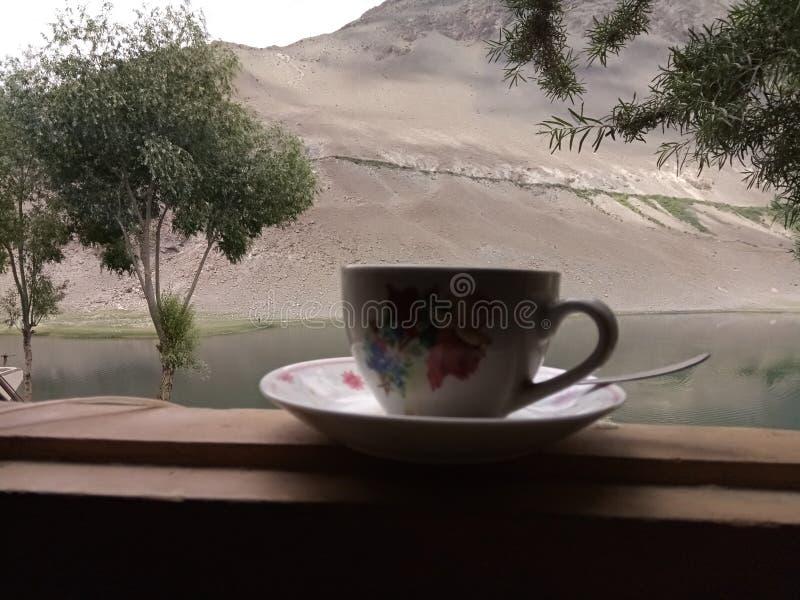 Tasse de thé au lac photographie stock