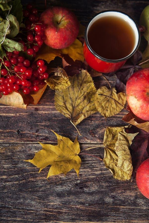 Tasse de thé chaude un jour d'automne Fond de Tableau avec des feuilles et a image stock