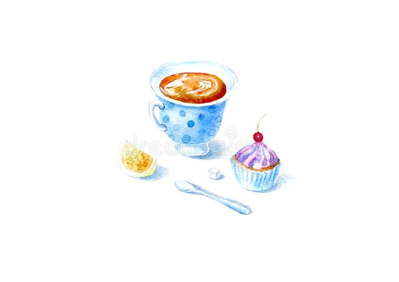 Tasse de thé, de citron, de gâteau et de cuillère Photo d'un dessert illustration stock