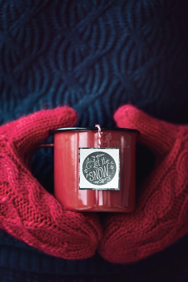 Tasse de thé dans des mitaines de laine photo stock