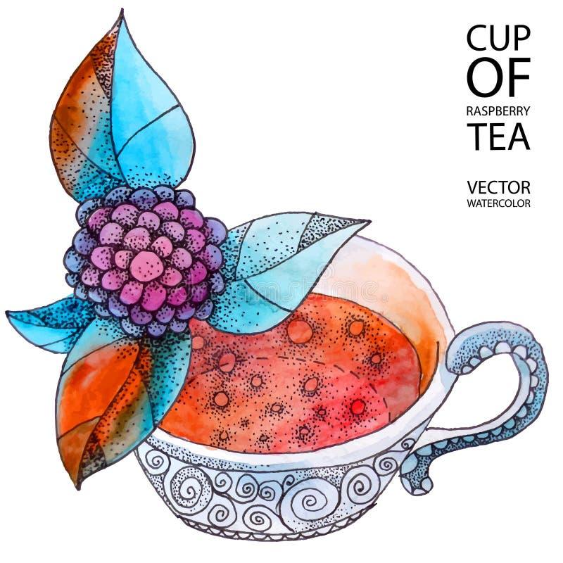 Tasse de thé de framboise illustration stock