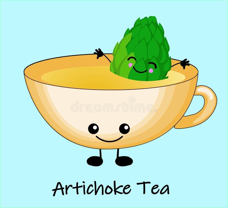 Tasse de thé des artichauts Illustration mignonne d'enfants Illustration de vecteur sur le fond blanc illustration de vecteur