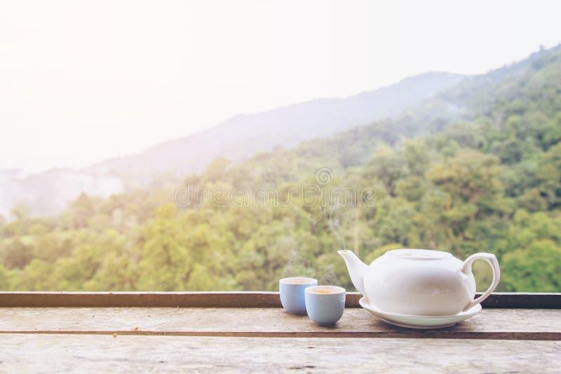 Tasse de thé et pot de thé photographie stock