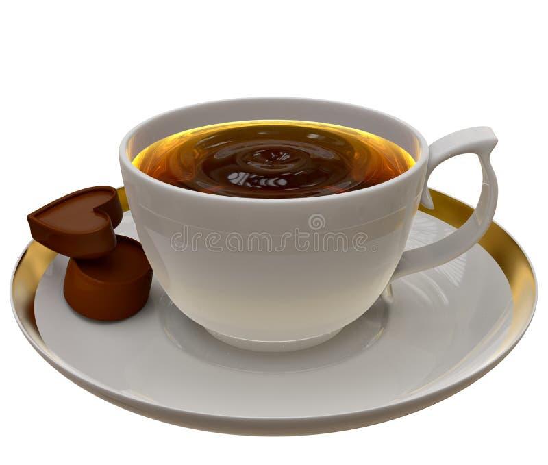 tasse de th ou de caf avec deux morceaux de chocolat illustration stock illustration du. Black Bedroom Furniture Sets. Home Design Ideas