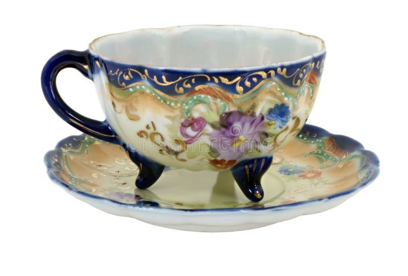 Tasse de thé peinte à la main bleue du Nippon images stock