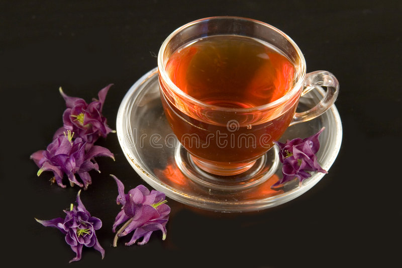 Tasse de thé transparente avec du thé images libres de droits
