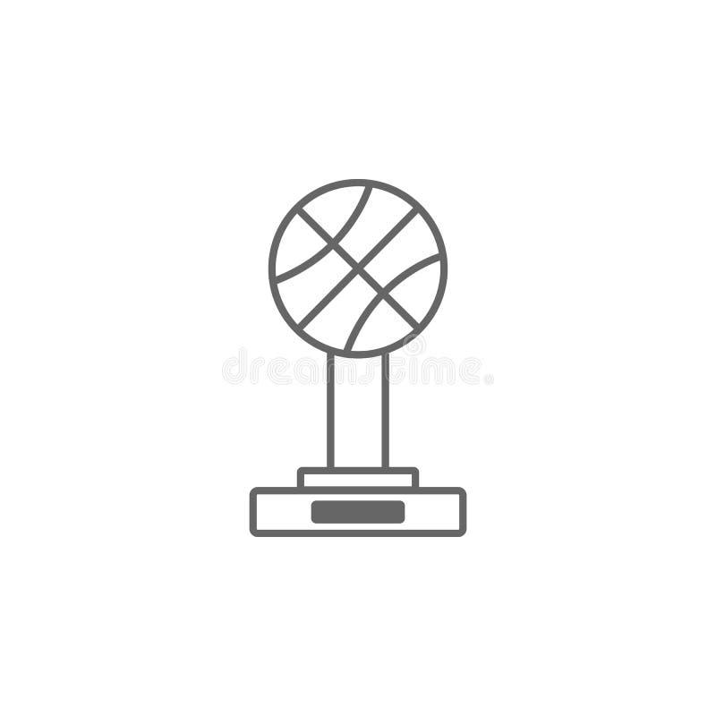 Tasse de trophée de basket-ball, récompense, icône de vecteur Illustration simple d'élément Calibre de conception de symbole de t illustration stock