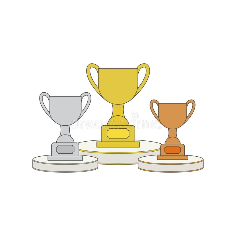 Tasse de trophée d'or, d'argent et de bronze sur le podium professionnel attribuez à la première place de médaille d'or le gagnan illustration stock