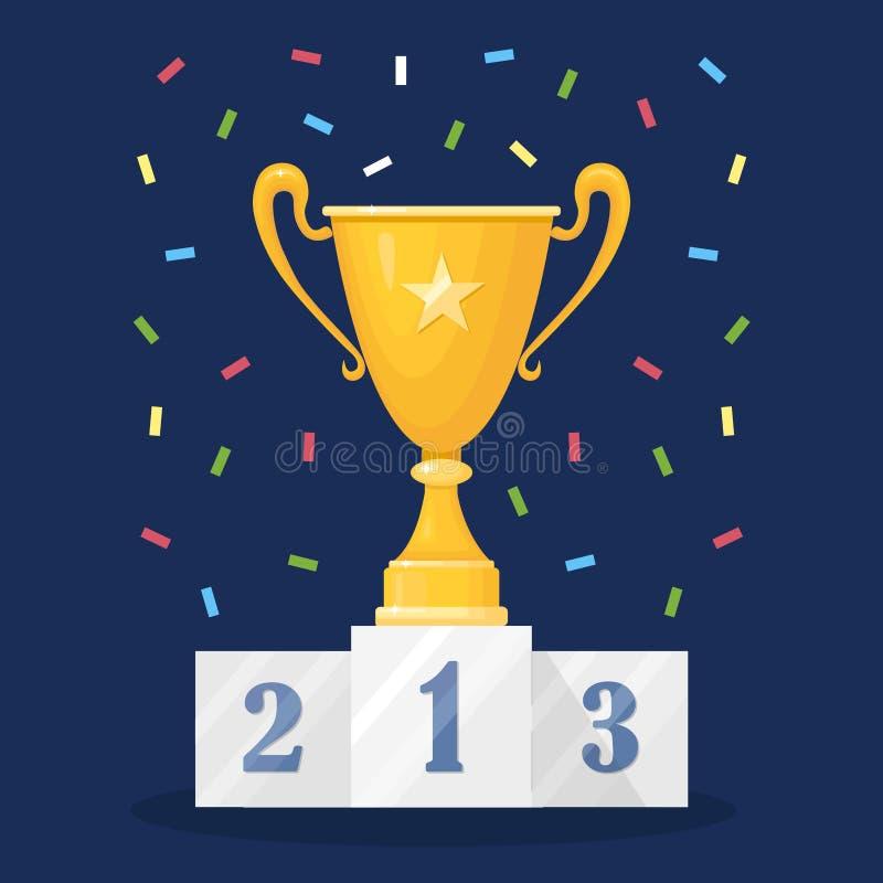 Tasse de trophée sur le piédestal Or, gobelet argenté et en bronze d'isolement sur le fond Récompenses pour le gagnant, champion  illustration libre de droits