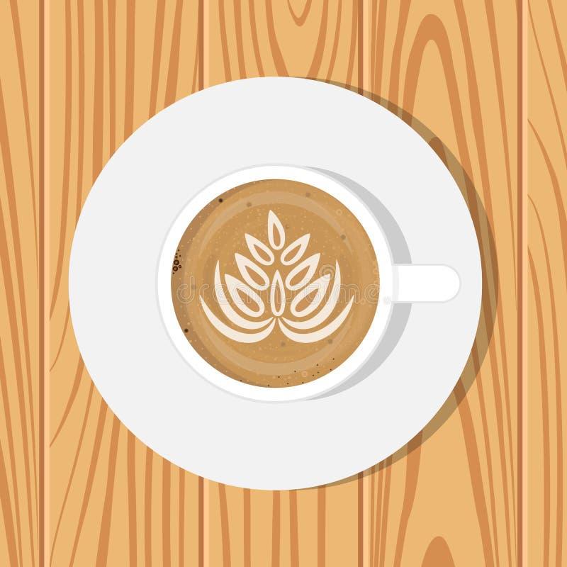 Tasse du café et de la soucoupe, vue supérieure, sur la surface en bois réaliste Illustration de vecteur Cappuccino avec le dessi illustration libre de droits