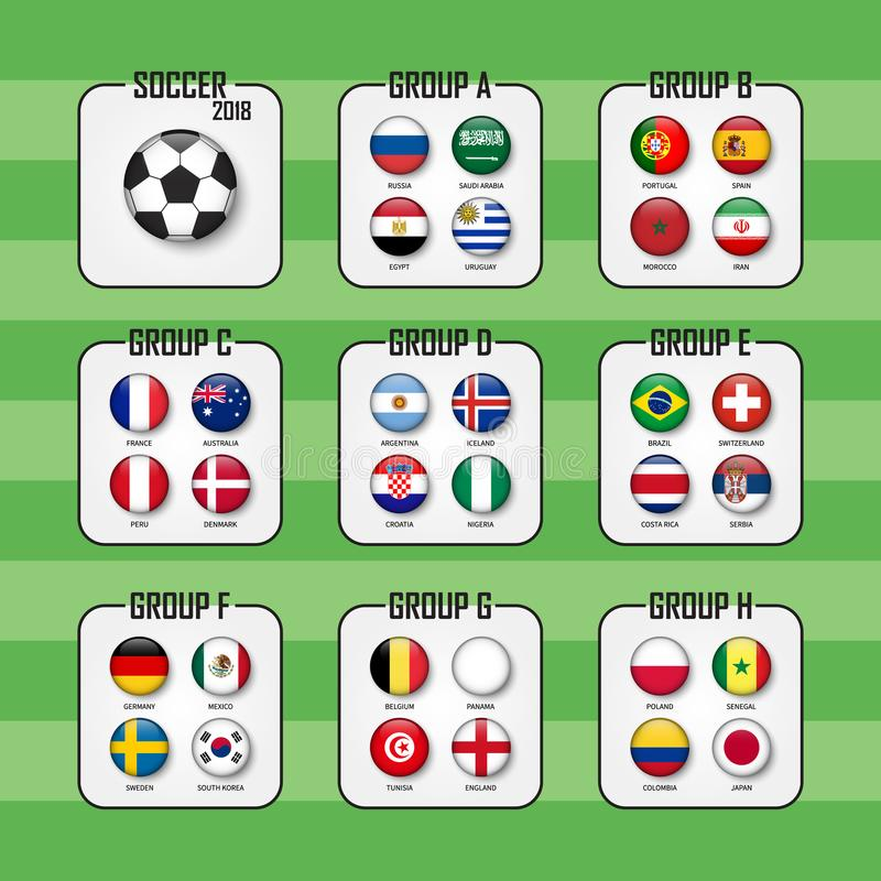 Tasse 2018 du football L'ensemble de drapeaux nationaux team le groupe A - H Conception de cercle Vecteur pour le tournoi interna illustration libre de droits
