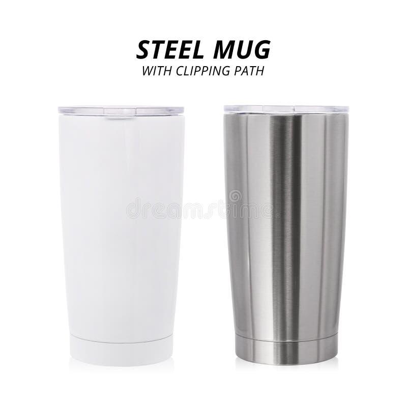 Tasse en acier d'isolement sur le fond blanc Calibre de conteneur de l'eau pour la conception Chemin de coupure photo stock