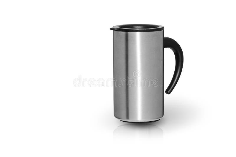 Tasse en acier de café de voyage de ville d'isolement sur le blanc photographie stock libre de droits