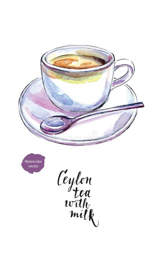 Tasse en céramique de thé au lait traditionnel de la Ceylan et la cuillère, dans le wa illustration stock