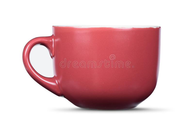 Tasse en céramique rouge d'isolement image stock