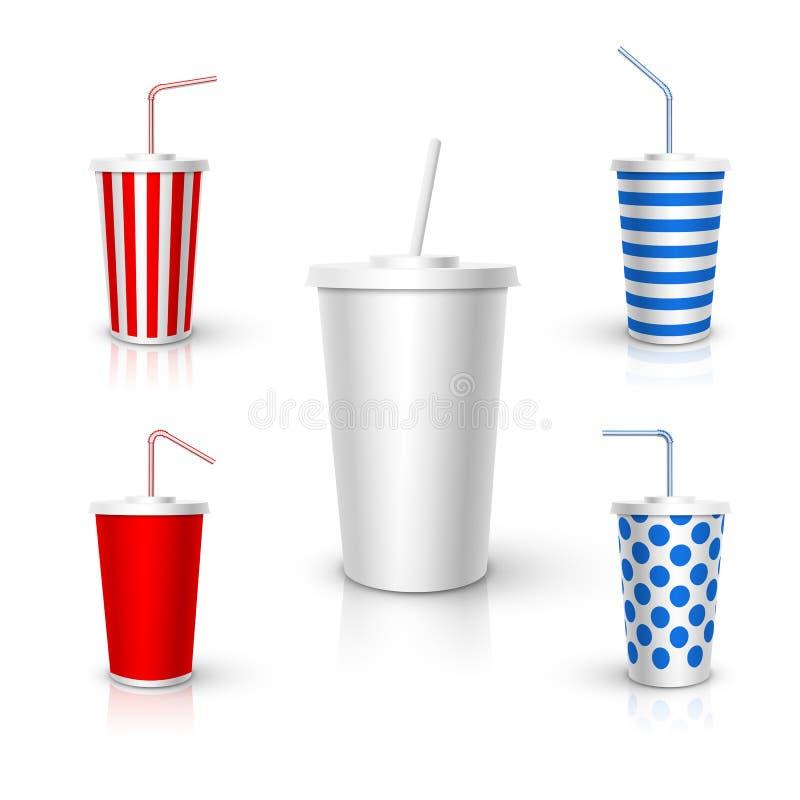 Tasse en plastique avec la maquette de tube Éléments réalistes de conception de vecteur illustration de vecteur