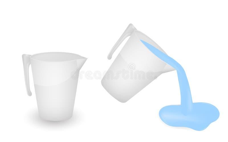Tasse en plastique blanche, d'isolement sur le fond blanc Videz et avec l'eau courante illustration stock