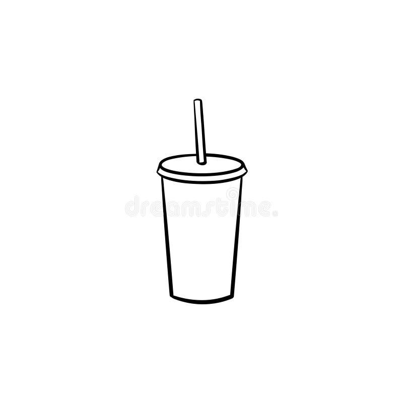 Tasse en plastique d'icône tirée par la main de croquis de soda illustration de vecteur