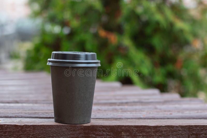 Tasse en plastique grise avec du café sur le fond des branches image stock