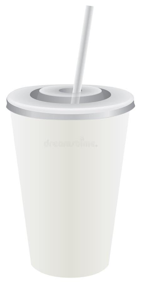 Tasse en plastique jetable avec la paille illustration libre de droits